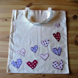 stitched hearts eco tote bag