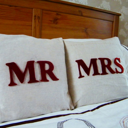 Shabby Chic Mr and Mrs Cushions (Two) - Wedding