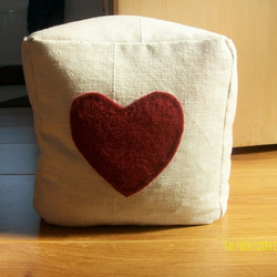Shabby/ Country Chic Door Stop with Heart Applique - FREE UK P&P