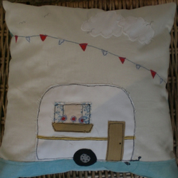 Freehand embroidered linen caravan & bunting cushion