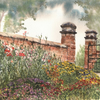 Flower Border, Moseley Old Hall - ORIGINAL PAINTING