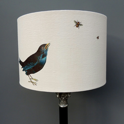 30cm drum lamp shade with blackbird and bees