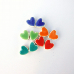 Little heart earrings, colourful ceramic