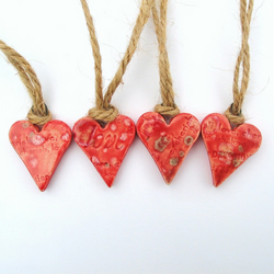 4 Red Ceramic Hearts, decorations or gift tags, Valentine's gift