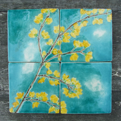 Handmade Ceramic tiles, forsythia yellow blossom