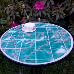Handmade table Ceramic tiles cherry blossom, wrought iron