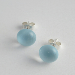Moonlight pale blue fused glass stud earrings