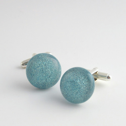 Cufflinks, sparkly pale blue fused glass cuff links