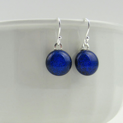 Blue glass earrings, fused glass drop earrings with sterling silver earwires