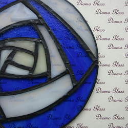 Blue and White Rose Sun Catcher