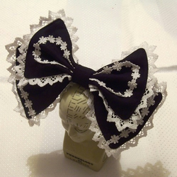 Gothic Lolita BLACK & WHITE LACE ALICE BOW headdress