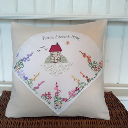 Home sweet home, floral cottage cushion.