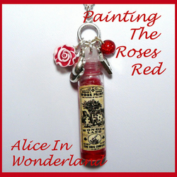 Alice In Wonderland Vintage 'Rose Paint' Bottle Charmed Pendant