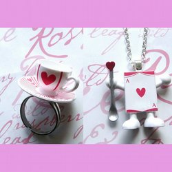 Alice In Wonderland 'Tea Time' ♥ Cards Ring & Necklace Set