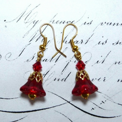 Christmas Inspirations Red & Gold Flower Earrings