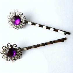 Gothic Amethyst / Purple Hair Pins with Filigree Flower Settings x 2