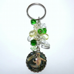 Mystical Mermaid With Gorgeous Green Accents Bagcharm - Keyring