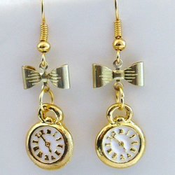 Alice In Wonderland I'm Late Clock Earrings