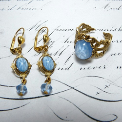 Victorian Inspired Vintage Blue Moon & Stars Ring & Earring Gift Set