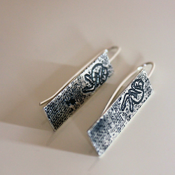 Oxidised Sterling Silver Graffiti Figure Rigid Earrings - Handmade