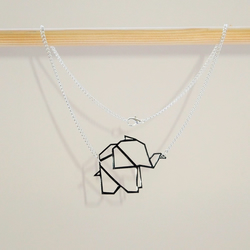 Baby Origami Elephant Geometric Necklace