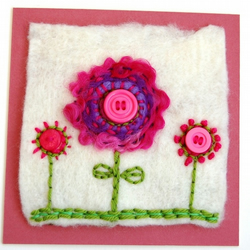 Handmade Felt Flower Picture - Unframed