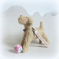 little mohair dog playing   I love you more than my ball x valentines day