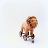 Little velveteen Lion on vintage Meccano wheels