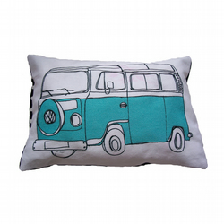 Campervan Illustration Cushion Large