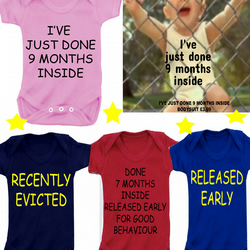 BODYSUIT 9MONTHS ETC MESSAGE ME for a different SLOGAN