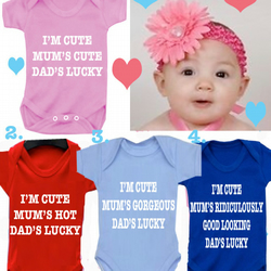 BODYSUIT I'M CUTE Mum's cute  MESSAGE ME for a different FAMILY MEMBER