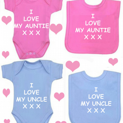 BODYSUIT I LOVE MY AUNTIE OR UNCLE SET FOR YOUR BABY