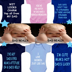 BODYSUIT Daddy slogans  MESSAGE ME for a different FAMILY MEMBER