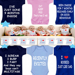 BODYSUIT FUNNY slogans 9 months etc  MESSAGE ME for a different FAMILY MEMBER