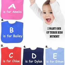 BIB A IS FOR AMELIA etc or DIFFERENT SAYINGS bib etc