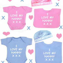 BODYSUIT BIB AND HAT  SET FOR YOUR BABY I LOVE NANNY OR ANY FAMILY MEMBER