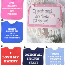 BIB Nanny  love her DIFFERENT SAYINGS bib etc