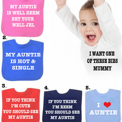 BIB Auntie  reem DIFFERENT SAYINGS bib etc