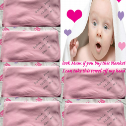 Blanket with Date of Birth Name of child and weight