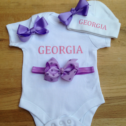 BODYSUIT SET WITH HAT and headband  purple bow set