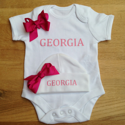 BODYSUIT SET WITH HAT  hot pink bow set