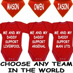BODYSUIT SET WITH  DRIBBLE BIB & NAME LIVERPOOL CHELSEA ARSENAL LEEDS ANY TEAM