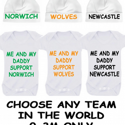 BODYSUIT SET WITH HAT NORWICH  LIVERPOOL CHELSEA ARSENAL MAN UTD LEEDS ANY TEAM