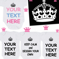 BODYSUIT KEEP CALM ANY SLOGAN OR DESIGN YOUR OWN