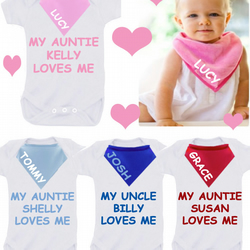 BODYSUIT SET  MY AUNTIE UNCLE LOVES ME any colour  with dribble bib