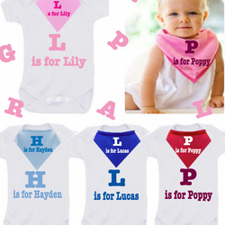 BODYSUIT SET  L IS FOR LOGAN ETC ANY NAME any colour  with dribble bib