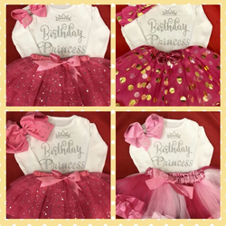 Princess baby Outfit Cake Smash  birthday baby girl