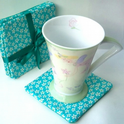 SALE  Coasters, Turquoise Flowers