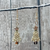 Christmas Tree spacer sparkle dangle earrings with gold coated cube crystal