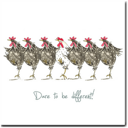 Fun Chicken Card - Dare to be Different - Blank inside, Birthday, Friend